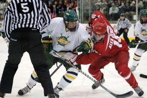 Oswego State will need to fend off an aggressive Cardinals offense, led by junior Alex Jensen, if they want to upset the No. 4 team in the country tonight at Ronald B. Stafford Ice Arena (David Armelino | The Oswegonian).