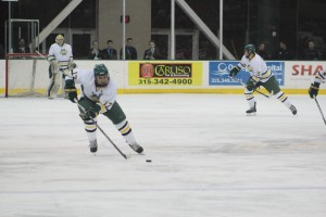 After four years of donning an Oswego State uniform, senior captain David Titanic will lead the Lakers on the Campus Center ice in a regular season game one last time tonight versus the College at Brockport (David Armelino | The Oswegonian).