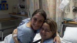 Alyssa posing with Jenn, her cousin and kidney donor, before both went into surgery. (Photo provided by David Deffenbaugh)