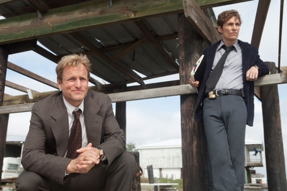 Stars Matthew McConaughey and Woody Harrelson are a small-screen tour de force in this dark, gritty Southern mystery series.  (Photo provided by hbowatch.com)