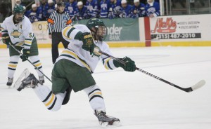 Oswego State used a strong third period to get past SUNY Fredonia tonight. The Lakers have set up a SUNYAC semifinals date with archrival SUNY Plattsburgh on Saturday night at 8 p.m. (David Armelino | The Oswegonian).