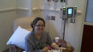 Alyssa receiving a Solaris treatment, which keeps her disease from attacking her new kidney