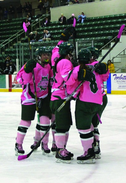 The Lakers celebrate their first goal of the third period during last Saturday's 6-1 win over Stevenson.  (Perry Kennedy | The Oswegonian)