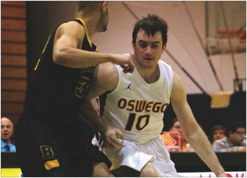 Freshman Matt Crockett scored eight of his 17 points during the final 6:35 of the first half, helping lead the Lakers to victory against The College at Brockport at Max Ziel Gymnasium on Tuesday night.  (David Armelino | The Oswegonian)