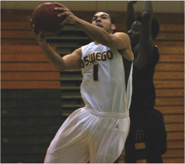 Daniel Ross recorded his first double-double in a SUNYAC game in Tuesday night's win over Brockport.  (David Armelino   The Oswegonian)