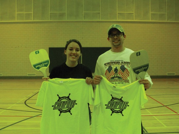 Jessica Lalande (left) and Tyler Diaz (right) were crowned the open doubles pickleball champions.  (Photo provided by Campus Recreation)