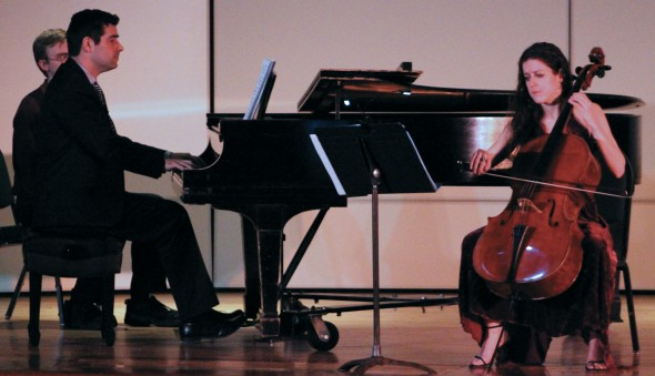 Elinor Frey performed a diverse set of songs with Oswego State pianist Rob Auler.  (David Armelino | The Oswegonian)