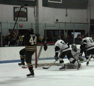 Freshman Matt Galati celebrates after putting a wrist shot past Babson goalie Jamie Murray for the Lakers second goal in the first period on Sunday (Carson Case   The Oswegonian).