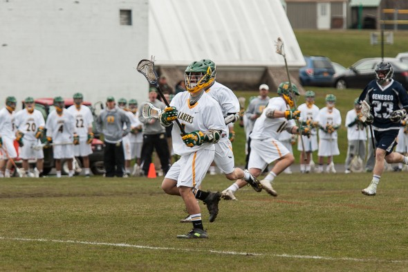 The Oswego State men's lacrosse team currently owns a 3-2 record as it looks to continue to play well and make a bid for a spot in the SUNYAC playoffs.  (Photo provided by Sports Information)