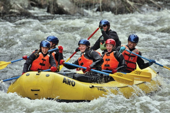 Members of the Outdoor Club take part in a white water rafting trip. The club does not meet at a standard time, but holds activities throughout the week.  (Photos provided by Yadong Wang)
