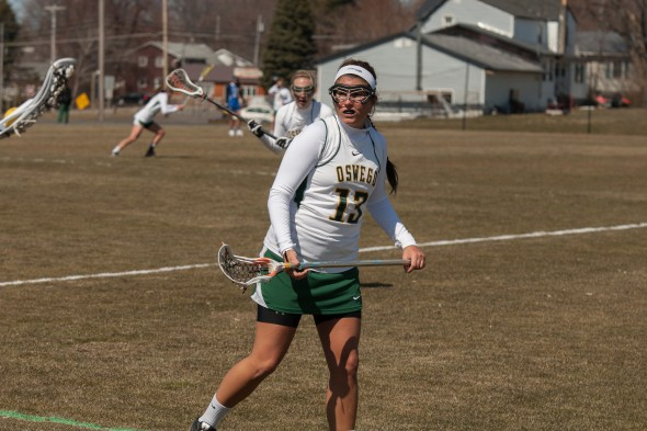 Sophomore Erannan Shattuck leads the women's lacrosse team with 18 points through the Lakers' first five games. Oswego State has a 4-1 record.  (Photo provded by Sports Information)