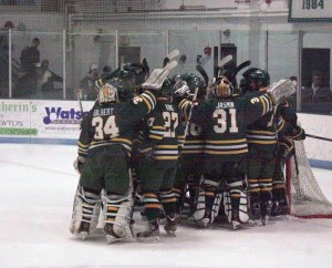 Oswego State celebrates after defeating Babson 3-0. The team will advance to its fifth-straight NCAA final four. (Carson Case | The Oswegonian)