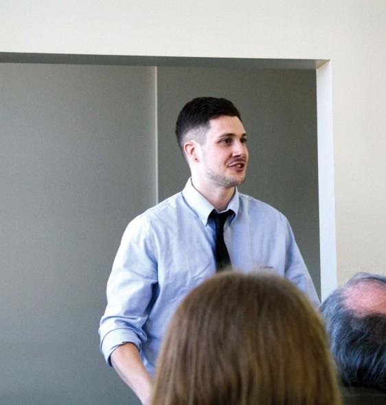 Mathom Fiction Award-winner Ethan Gormley adresses the ceremony's audience.  (Photo provided by Taisha Laird)