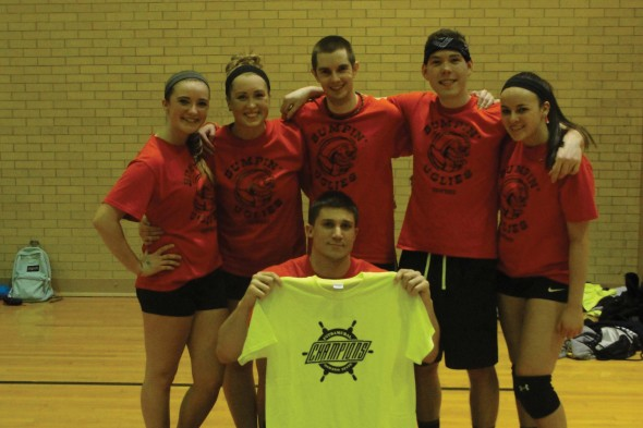 No. 1 Bumpin Uglies defeated Volleybrawlers in four sets and was crowned co-rec volleyball champions.  (Photo provided by Campus Recreation)