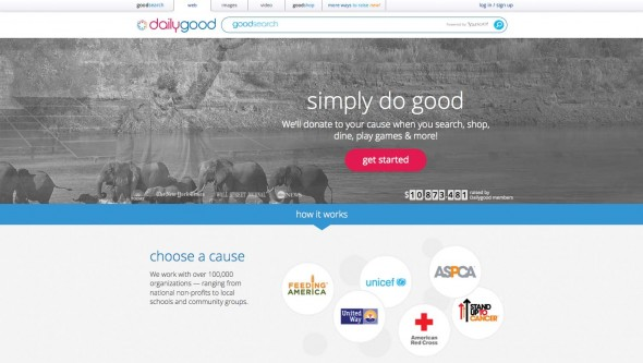 A screenshot of Goodsearch.com, the website that provides charities with the opportunity to promote themselves.