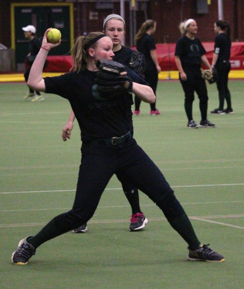 The Oswego State softball team has recently been practicing inside the Romney Field House. The Lakers have seen six straight home games postponed due to weather and will play six games over the next three days.  (David Armelino | The Oswegonian)
