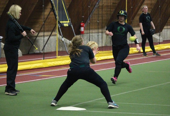 With the poor field conditions of Laker Softball Field, members of the softball team have practiced indoors to stay sharp and prepare for upcoming games.  (David Armelino | The Oswegonian)