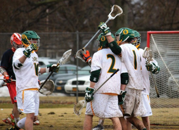 The Oswego State men's lacrosse team evened its record after falling to conference rival Brockport as the season passes its midway point.  (Maximilian E. Principe | The Oswegonian)