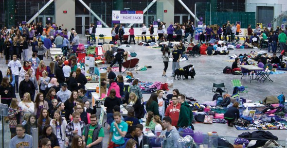 Over 600 participants came together in the Campus Center Arena to fundraise for Relay for Life.  (Shinnell Burroughs | The Oswegonian)