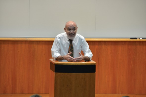 Children's author Bruce Coville, a 1973 graduate, spoke about how he found success in his Quest keynote speech in the Campus Center Auditorium.  (Andrew Pugliese | The Oswegonian)