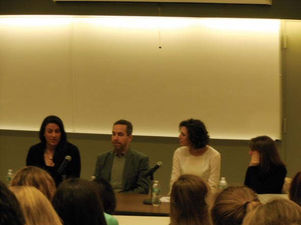 The panel at the PRSSA event spoke about the various positions withing field of public relations and gave advice on how to break into the industry.  (Chloé Larsen | The Oswegonian)
