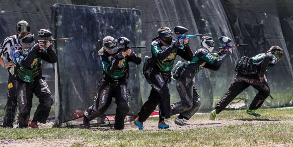 The SUNY Oswego Rush paintball team breaks out on a point during nationals in central Florida.  (Photo provided by Paintball Club)