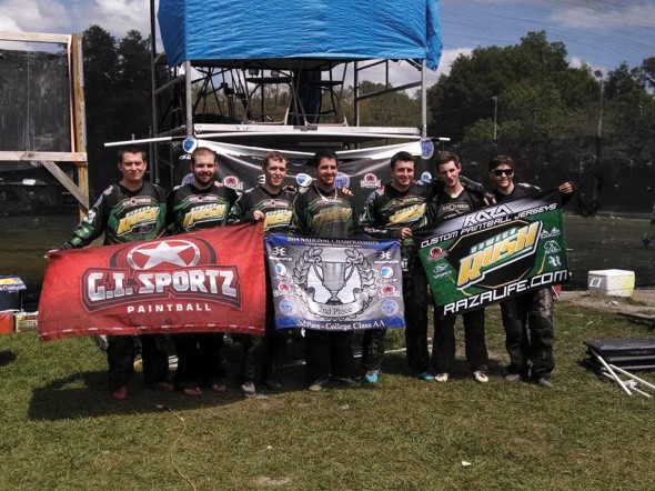 Members of the SUNY Oswego Rush pose together after their final match of the national championships.  (Photo Provided by Paintball Club)