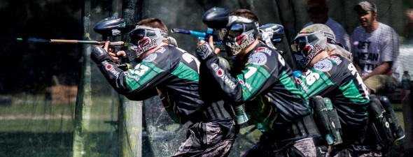 Seniors A.J. Katt (left) and Dominic Cardone (right) lead the team out of a break during nationals.  (Photo provided by Paintball Club)