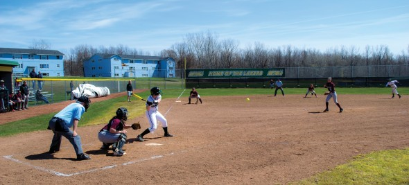The Oswego State softball team took part in its first two games at Laker Softball Field this season. The Lakers won both contests, defeating SUNY Potsdam by scores of 14-0 and 8-1, respectively.  (Eric Muldoon | The Oswegonian)