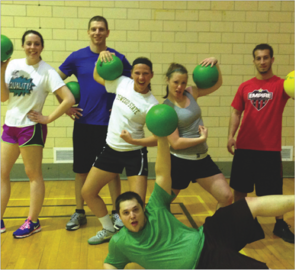 Blue Ballers defeated Not N Da Face We're Models 4-0 for a seed in the dodgeball competitive bracket.  (Photo Provided by Campus Recreation)