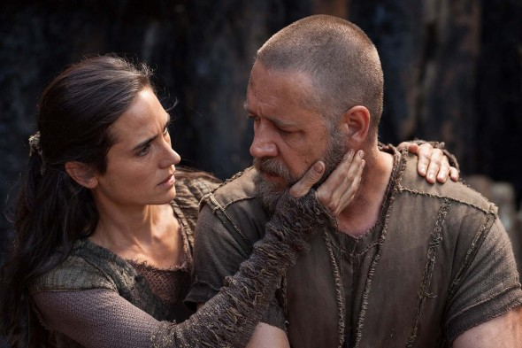 Russell Crowe (right) gives a riveting performance as the titular Noah.  (Photo provided by studio)