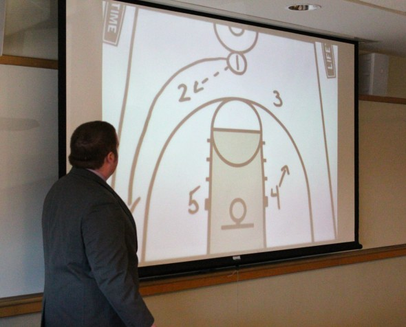 """Ryan Kiely presents """"The History and Implementation of Basketball's Triangle Offense"""" in Campus Center room 225 for the history and honors programs.  (David Armelino 