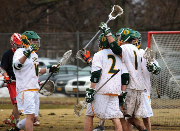 The Oswego State men's lacrosse team currently owns a 4-3 record as the 2014 season enters its midway point. The Lakers have a chance to make a move in the SUNYAC standings with six conference games remaining.  (Maximilian E. Principe)