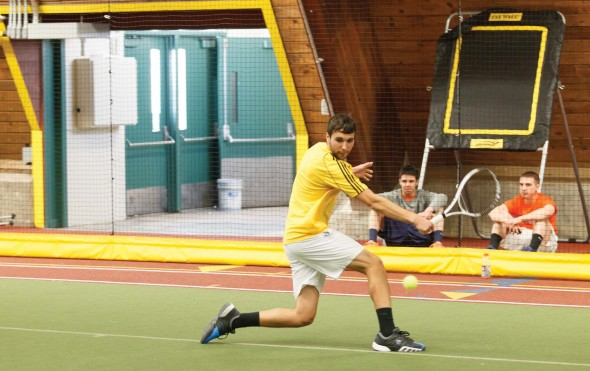 The Oswego State men's tennis team blanked Keystone College inside the Romney Field House, improving its record to 2-3 for the 2013-14 season.  (Photo provided by Sports Information)