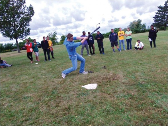 The Home Run Derby was one of the events going on during Lakerfest this past Saturday at the Onondaga and Cayuga Fields. Sophomore Adam Christel takes a swing during his time at bat while the crowd looks on. Each batter was alotted 15 pitches for a combined 30 per team.  (Photo provided by Campus Recreation)