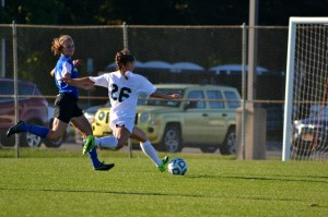 Freshman Alexa Restante sets up to take a shot in the Lakers' match vs. Hamilton College