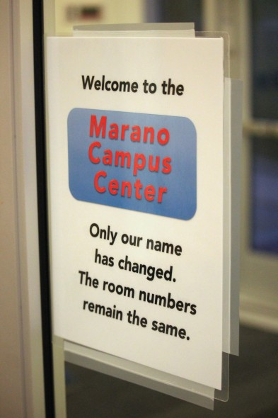 The name change to Marano Campus Center confused some upperclassmen returning this fall.  (David Armelino | The Oswegonian)