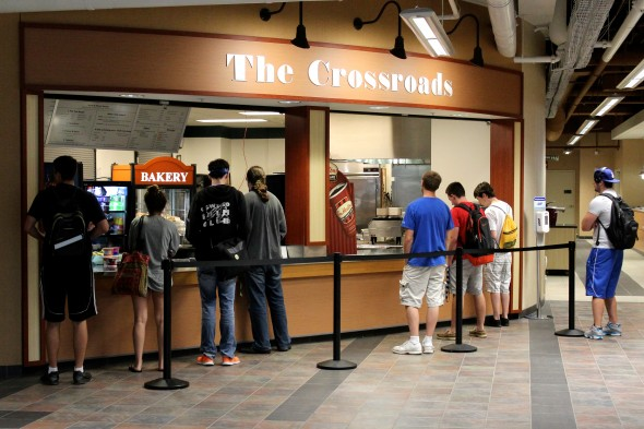 Students are able to buy breakfast, lunch and dinner at The Crossroads dining center. Auxiliary Services is using Crossroads as a trial run to see if other food facilities will use credit, debit card options.  (David Armelino | The Oswegonian)