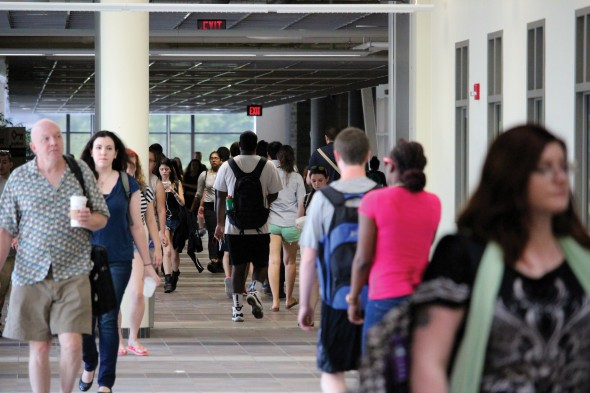 More students are opting to reside on campus rather than seeking off-campus living locations, which might lead to cramped housing situations.  (David Armelino   The Oswegonian)