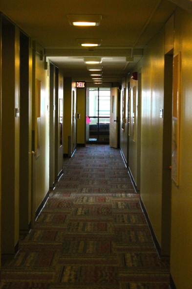 Brand new carpets and new paint were part of the multiple updates done on Ondondaga Hall.  (David Armelino | The Oswegonian)