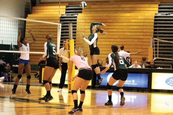 Junior Kelsey Dillon had a total of 40 kills over the four matches during the Oswego State Tournament.  (David Armelino | The Oswegonian)