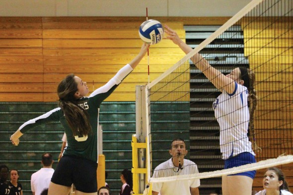 Junior Hannah Dahlgren had 21 kills between the Lakers two wins against Hamilton College and SUNY Potsdam on Saturday at the Oswego State Tournament.  (David Armelino | The Oswegonian)