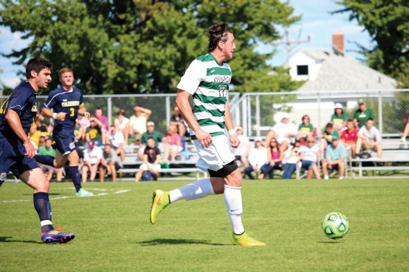 Sophomore Mitch Brickman was a late switch from defense to midfield last season as Oswego State tried to add more speed up front.  (David Armelino | The Oswegonian)