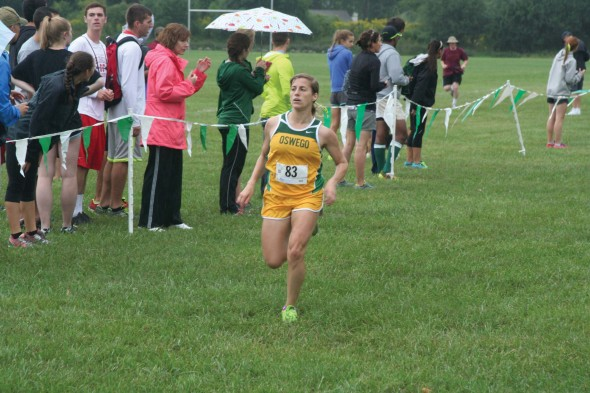 Junior Katie Laris takes part in the Oswego Pat Peterson Invitaitonal. She finished 42nd overall at the event.  (Photo provided by Sports Information)