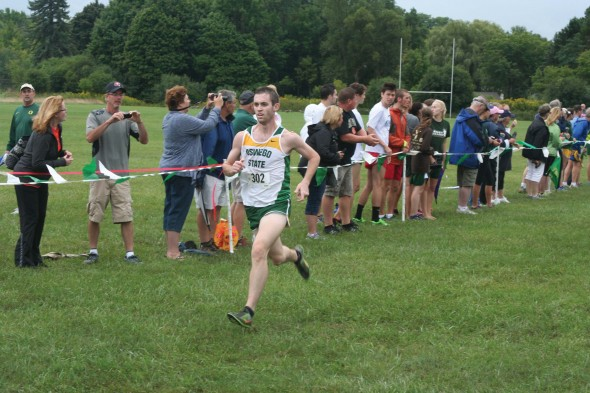 Junior Sean Lyons runs during the Oswego Don Masterson Invitaitonal on saturday. He finished 29th overall.  (Photo provided by Sports Information)