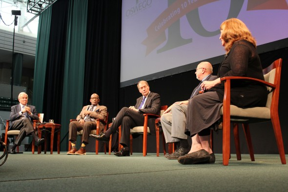 Ken Auletta '63 (left), Al Roker '76 (left center), Charlie Rose (center), Dennis Thatcher (right center), Connie Schultz (right) at the 10th annual Lewis B. O'Donnell Media Summit in the Marano Campus Center.  (David Armelino | The Oswegonian)
