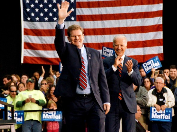 Rep. Dan Maffei  (left)  speaks at Syracuse Hancock International Airport with Vice President Joe Biden  (right).  (Photo provided by Dan Maffei for Congress)