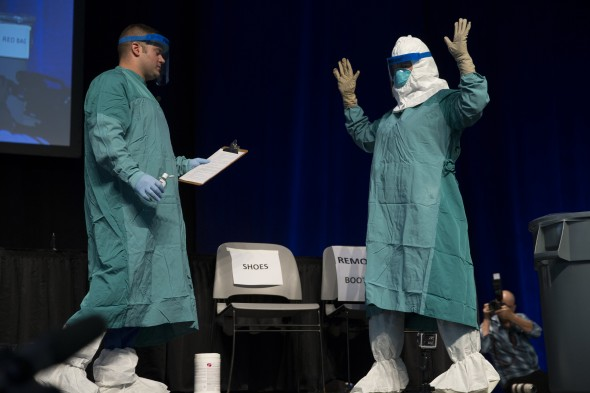 An Ebola response drill during part of an educational session that Gov. Andrew Cuomo has been initializing, similar to such drills health centers at SUNY schools will conduct.  (Photo provided by the Governor's Office)