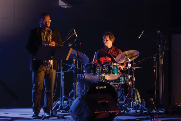 MacArthur Fellow Dafnis Prieto and his Sí o Sí Quartet brought Latin Jazz melodies and harmonies to Oswego State.  (Photo provided by Taylor Clock)