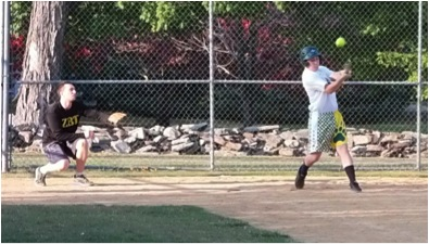 Billy Reese of The Guild swinging at a pitch in the competitive softball league game against ZBT.  (Photo provided by Campus Recreation)